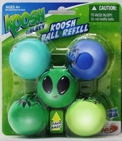 Koosh Ball Refill 5 Pack, Blue/Green with Assorted Face Ball