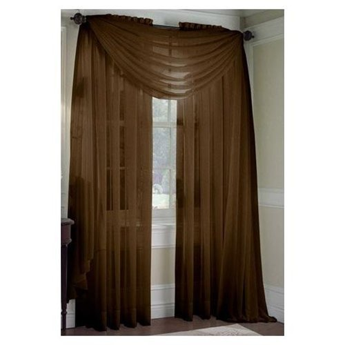 MONAGIFTS BROWN CHOCLATE Scarf Voile Window Panel Solid sheer valance curtains 216