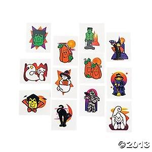 Halloween Glitter Temporary Tattoos - 288 Pieces