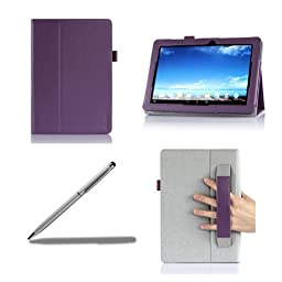 ProCase ASUS MeMO Pad 10 Protective Case with bonus stylus pen - Flip Stand Leather Cover Case for ASUS MeMO Pad 10 Tablet (ME102A), Built-in Stand (Purple)