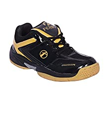 Feroc Black & Golden Unisex Badminton Shoe (10, Black & Golden)