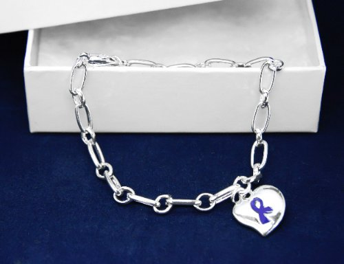Dark Blue Ribbon Bracelet-Silver Linked Puffed Heart Charm (18 Bracelets)