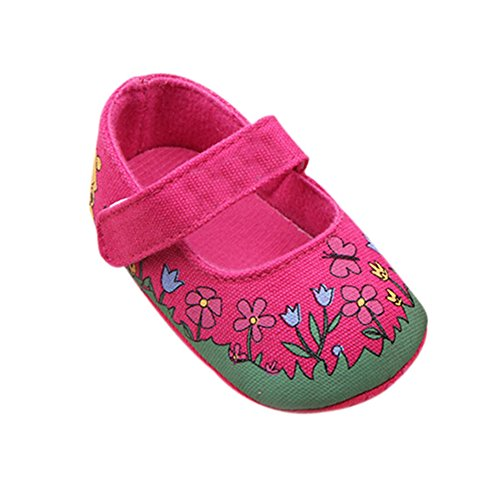 Weixinbuy Baby Girl Toddler Soft Sole Velcro Floral Crib Shoes Rose 4-8M