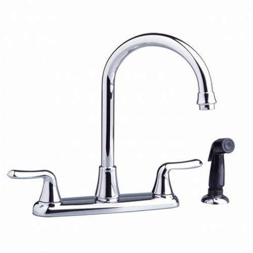 Cyber Monday Deals American Standard 4275.551.002 Colony Soft Double-Handle Kitchen Faucet with Brass Gooseneck Spout, Polished Chrome...