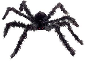 Spinne Halloween Spinnentier Tier 102 cm Riesenspinne beleuchtete Augen haarig Schwarz