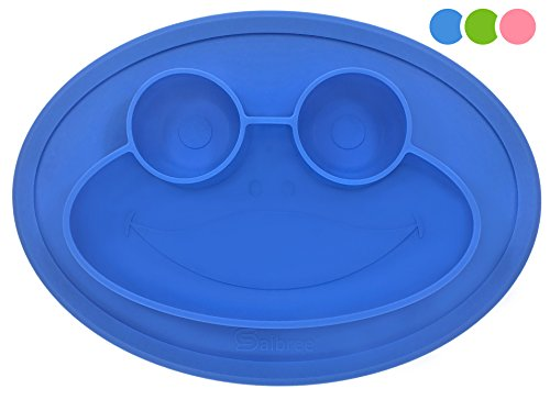 Round Silicone Suction Placemat for Children, Kids, Toddlers, Babies Highchair Feeding Tray or Kitchen Dining Table with Built in Plate and Bowls, Set Comes with Reusable Travel Bag by Salbree, Blue
