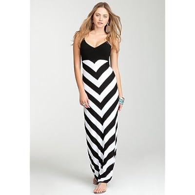 bebe Chevron Stripe Maxi Sweater Dress at Amazon Women's Clothing