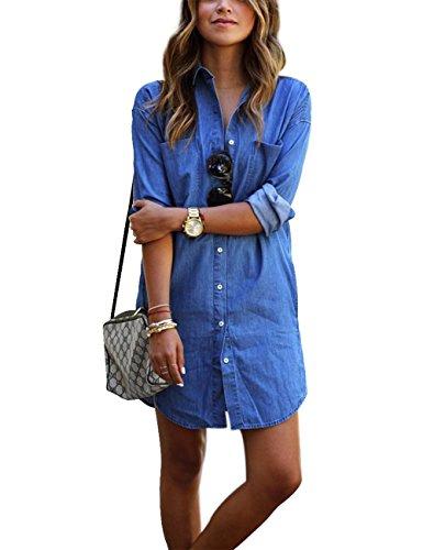 Qijitech longest Elegante Camicia lunga Moda Deep Bluse jeans abito donna Da A Possibilità Casual (xl, blu)