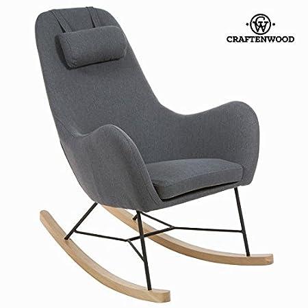 Sedia a dondolo di tela grigia by Craften Wood (1000026968)