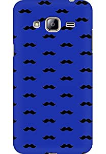 AMEZ designer printed 3d premium high quality back case cover for Samsung Galaxy J3 2016 (dark blue moustache muchi beard)