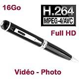Stylo mini caméra espion Full HD H264 720p et 1080p appareil photo 2048 x 1536 p USB 16 Go Noir PEN-1080-16GB