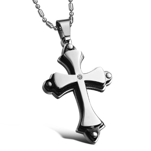 Opk Jewellery Fashion Stainless Steel Necklace With Import Crystal Black Plated Cool Cross Pendant Men's Necklets
