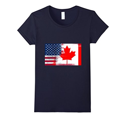 Women's Canadian American Half Canada Half America Flag Shirt Large Navy (America Grown compare prices)