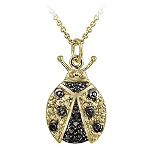 Gold Tone over Sterling Silver Black Diamond Accent Ladybug Necklace