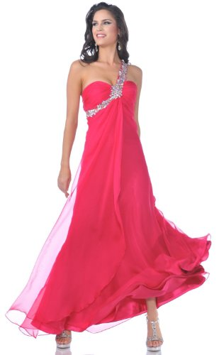 Meier Women's One Shoulder Chiffon Gown 7539 (8, Fuchsia)