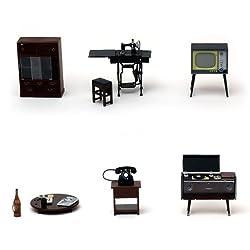 昭和の茶の間 6点セット レトロなミニチュア 懐かしい日本の家具 模型 ドールハウス RinMartオリジナル 790