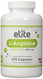 Elite L-Arginine 500mg, 275 Capsules, 1000mg per serving, Essential Amino Acid, Satisfaction Guarantee