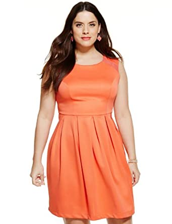ELOQUII Women's Plus Size Sheer Inset Fit & Flare Dress 14 Melon