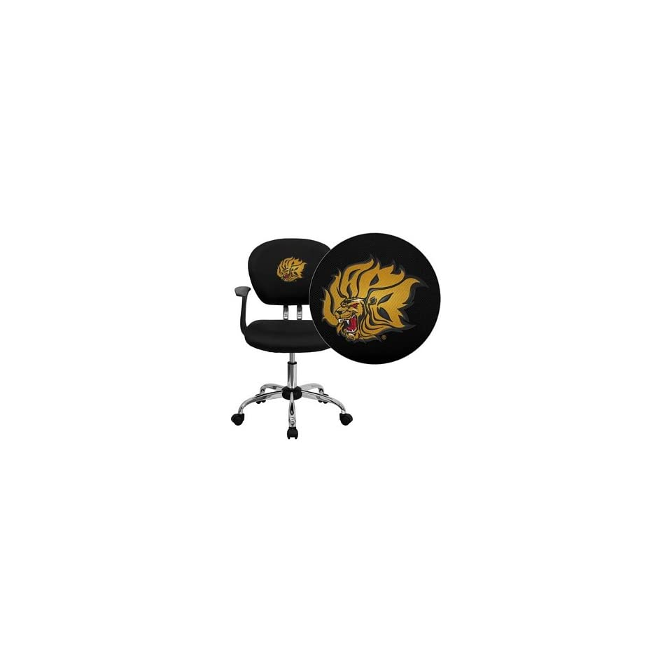 Flash Furniture Arkansas Pine Bluff Golden Lions Embroidered Black Mesh Task Chair with Arms and Chrome Base
