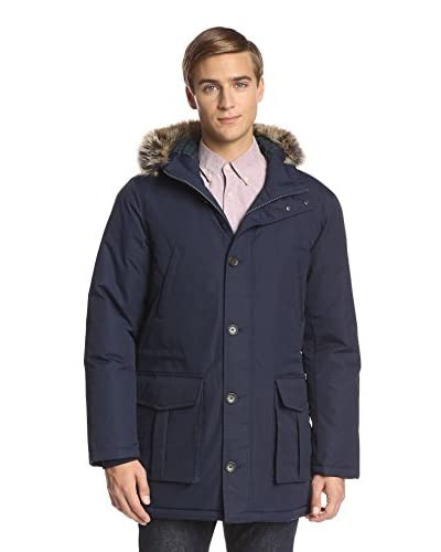 Ben Sherman Men's Nylon Coat With Faux Fur Trim