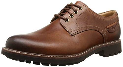 Clarks - Montacute Hall, Scarpe con lacci Derby da uomo, marron (dark tan lea), 42