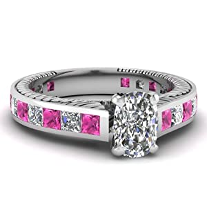 Fascinating Diamonds 2.25 Ct Cushion Cut Diamond & Princess Pink Sapphire Vintage Engagement Ring GIA