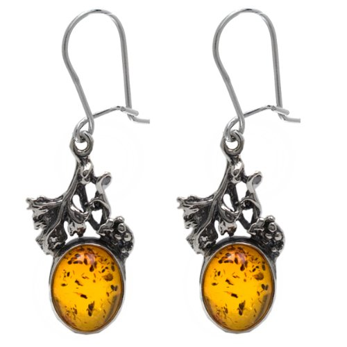 Honey Amber and Sterling Silver Small Grapevine Earrings