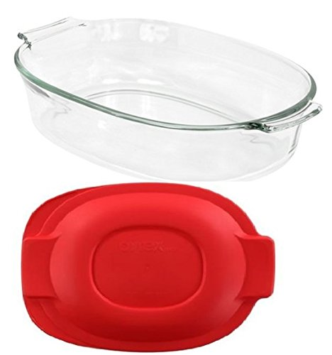 Pyrex 2 QT Oval Roaster Bundle: 2 Quart Oval Roaster with Red Plastic Cover (Pyrex 2 Qt Oval Roaster compare prices)