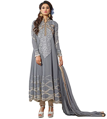 Justkartit Women's Designer Wear Anarkali style Beautiful Embroidery Georgette & Net Semi-Stitched Salwar Kameez (Wedding Wear