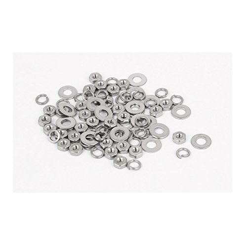 uxcell M1.6 Thread Dia 304 Stainless Steel Hex Nut Flat Washer Split Lock 25 Sets (Packing Nut Washer compare prices)
