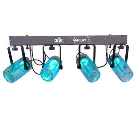 Four Tri-Color Spots With Bar Complete Led Kit -Clear With Headphones