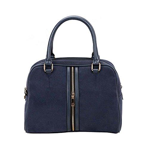 FASH Doctor Style Casual Wear Suede Handbag - Dark Blue