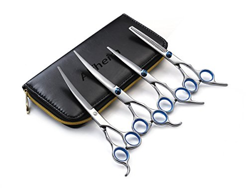 Alfheim-Professional-4-pieces-Pet-Hair-Grooming-Scissors-Set-33-Teeth-Thinning-Shear-Straight-Edge-Shear-2-Curved-Shears-Sharp-and-Strong-Stainless-Steel-Blade