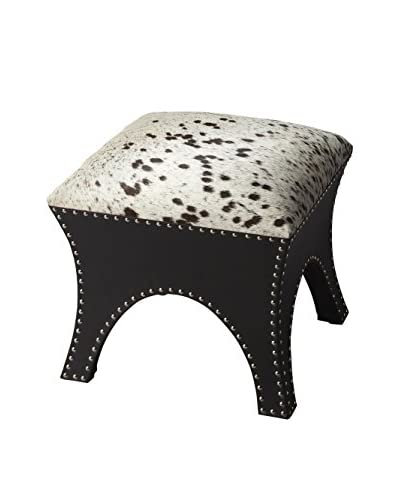 Butler Specialty Company Cowhide And Brass Nailhead Ottoman, Cowhide