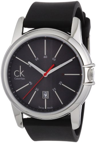 Calvin Klein Quartz, Black Rubber Strap Band with Black Dial - Men's Watch K0A21507