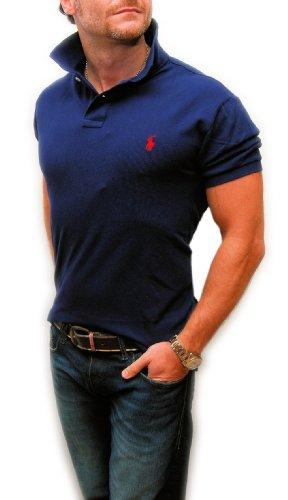 Polo Ralph Lauren Custom Fit Mens Mesh Short Sleeve Cotton Shirt Navy Red XL 6b8edb8f1