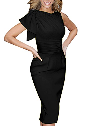 VfEmage Women's Celebrity Elegant Ruched Wear to Work Party Prom Bodycon Dress 1157 BLK 12