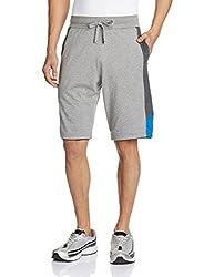 Jockey Men's Cotton Shorts (8901326123461_9415_Medium_Grey Melange, Charcoal and Neon Blue)