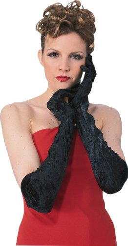 Secret Wishes Long Velvet Costume Gloves, Black, One Size