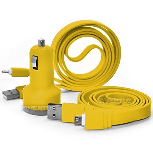 aventus-videocon-krypton-v50da-yellow-twin-port-usb-mini-bullet-in-car-charger-adapter-including-2-m
