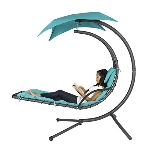 Hanging Chaise Lounger Chair Arc Stand Air Porch Swing Hammock Chair Canopy Teal (Amazon Bouncy Ca compare prices)