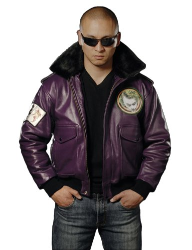 UD Replicas Joker Goon Themed Leather Bomber Jacket, Large (Dark Knight Costume Replica)