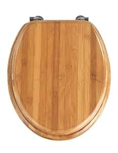 Wenko 144726100 Bamboo Toilet Seat - Chrome-Metal Attachments Dark Bamboo Wood