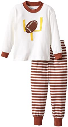 Sara's Prints Little Boys' Flame Resistant 2 Piece Pajama, Brown/White Stripe, 3