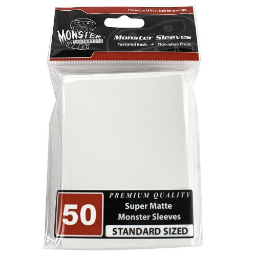 Sleeves - Monster Protector Sleeves - Standard Size Super Matte - White (Fits MTG Magic the Gathering and Other Standard Sized Gaming Cards)