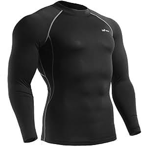 emFraa Homme Femme Sport Compression Black Baselayer Tee-Shirt Long sleeve S
