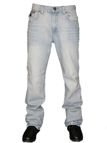 Mens Blue Reed Mexican Designer Straight Leg Classic Fit Denim Jeans W32 L34