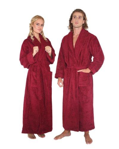 Women's and Men's Bathrobe [Optimal], 100% Cotton, Burgundy, Medium