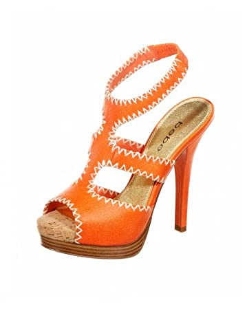 bebe.com Alice Cutaway Leather Sandal :  orange sandals sandals shoes summer