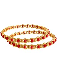 JFL - Traditional & Ethnic One Gram Gold Plated Coral Red Designer Bangle/ Set For Women & Girls
